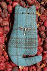 Primitive Spring Blue Wool Cat Ornie w Dragonfly Hanging Ornament