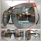 RETRO SHIELD Style Party Rave Club DJ SUN GLASSES Red Frame Flat Mirrored Lens