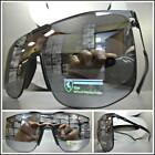 RETRO SHIELD Style Party Rave Club DJ SUN GLASSES Black Frame Flat Mirrored Lens