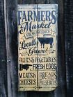 Hand made wood farmers market sign Primitive Rustic Country Home Decor