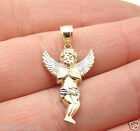 Cute Mens Two Tone Baby Angel Charm Pendant Real Solid 10K Yellow White Gold
