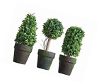 PVC Topiary In Pot SET OF 3 Styles Artificial Plant Shrub Bush Country Home Gard