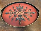ANTIQUE VINTAGE HAND PAINTED SCANDINAVIAN WOOD TRAY FOLK ART WITH HANDLES