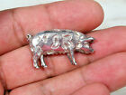 VINTAGE STERLING SILVER GLOUCESTERSHIRE PIG HOG RARE BREED BROOCH PIN SIGNED