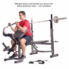 Gray Weight Lifting Bench Olympic Gym Training Work Out Exercise Equipment Rack