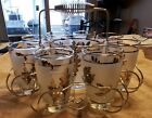 UNIQUE VINTAGE LIBBY FROSTED GLASS W/SILVER TUMBLER W/ICE BUCKET HOLDER S/8 EXC
