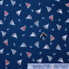 BonEful FABRIC FQ Cotton Quilt Navy Blue Red White Sail Boat Ship Anchor USA Boy