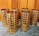 Mid Century Culver Canella 22K Gold Highball Set Of 6 Tumbler Glasses Barware