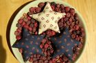 Primitive Patriotic Floral Print Star Ornies, Set of 3