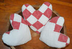 Primitive 3 Red White Quilt Hearts Valentines Bowl Fillers Cupboard Tucks