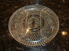 Vintage Divided Clear Glass Serving Platter-12 in- Heavy Duty