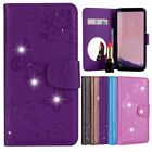 Flip Magnetic Wallet butterfly mirror leather cover case For Samsung Galaxy