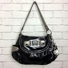 Kathy Van Zeeland Ladies Black Silver Patent Shoulder Bag Handbag