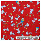 BonEful Fabric FQ Cotton Quilt Snoopy Woodstock Dog Red Love Heart OOP HTF Print
