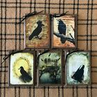 5 WOODEN Black Crow HangTags, Raven Ornaments  Handcrafted SET1