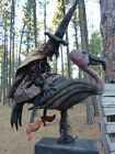 Primitive Folk Art Doll Witch Riding Buzzard AWESOME LARGE SET