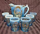 Czech Bohemian Aquamarine Hand Painted Glass Pitcher Set