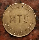 VINTAGE MTC ONE BUS FARE TOKEN - BRASS - #1395
