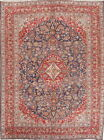 Antique Floral Navy Blue Kashan Traditional Persian Medallion Area Rug 10x13ft