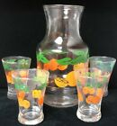 Vintage Orange Juice Carafe With 4 Juice Glasses, Anchor Hocking (SH2)
