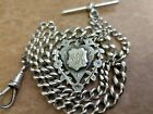 Antique Solid Silver Graduated Albert Pocket Watch Chain + Fob Medal