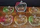 Apple Shaped Clear Glass Bowls Set 6 Etched Leaf Red Yellow Green Desert Dishes
