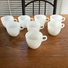 8 Vintage Fire King White Milk Glass St. Denis Cups Mugs