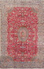 Antique 9x14 Floral Busy Pattern Red Kashmar Persian Oriental Medallion Area Rug