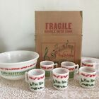 Vtg Hazel Atlas Gay Holiday Egg Nog Set Glass Punch Bowl Cups Box Jingle Bells