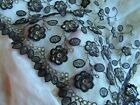 ANTIQUE FRENCH GOLD METAL DENSE EMBROIDERY SILK FLOWER COTTON LACE TULLE TRIM PC