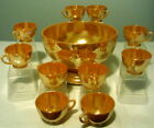 Anchor Hocking Fire King Peach Luster Lustre Punch Bowl Set With Stand 12pc