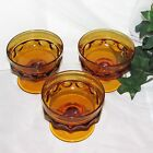INDIANA GLASS KINGS CROWN GOLD AMBER SHERBET CHAMPAGNE GOBLETS 3 THUMBPRINT