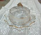 Vintage Gold Flashed Butter Dish Polygon Points-Beaded-Frosted-Gold Trim Minor