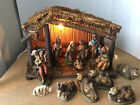 Vintage Christmas Nativity Set 13 Figures  Rustic Wood Stable Made in Italy