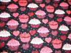 Valentine Red White Pink Cupcakes Hearts Dots Black Cotton Quilt Fabric BTY