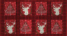 Christmas Fabric Hearthside Holiday Panel Berry Red 24 Inch TheFabricEdge
