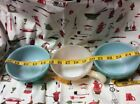 """"""" 2 Turquoise Soup Cereal Bowls 1 Peach Luster WarUSA"""