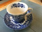 K Aynsley and Co Tea Cup and Saucer Blue Transferware Ironstone England Hunt
