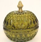 Vintage MCM GREEN Cut Glass Candy Dish Metal ACORN knob 70's Lid Covered round