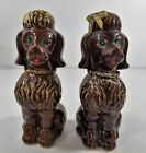 2 Red ware Standard Poodle Dog Figurine Artmark Brown French Cut Poodle Japan