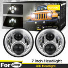 Chrome 7 Round CREE LED Hi Low Headlight Lamp For Jeep Wrangler JK JKU TJ CJ LJ