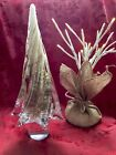 FLAWLESS Stunning MURANO Glass Clear Copper Twisted CHRISTMAS TREESculpture