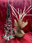 NEW FLAWLESS Stunning MURANO Italy Art Glass Tiered CLEAR Crystal CHRISTMAS TREE