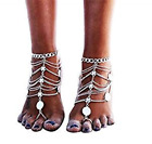 CHRISTYZHANG 2pcs Anklets Boho Vintage Tassel Foot Jewelry Barefoot Sandals Beac
