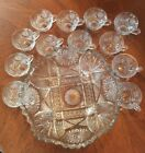 Vintage 1960s Glass Punch Bowl with 12 Cups