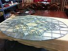 Large Oval Clear Leaded Etched Glass Window Can also be used as wall decor