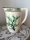 Vintage  Moriyama Hand Painted Green Cherry Blossom Water Pitcher Made in Japan