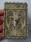 ORIGINAL ANTIQUE VICTORIAN STERLING SILVER GILT FILIGREE CARD CASE CIRCA 1900
