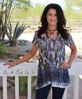 VOCAL PEARLIZED CRYSTAL CREAM NATIVE FEATHER LIGHT LACE SHIRT TUNIC USA S M L XL