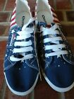 Superga Womens Sneakers Red White Blue Stars Stripes Patriotic Shoes Sz 8 NWOB